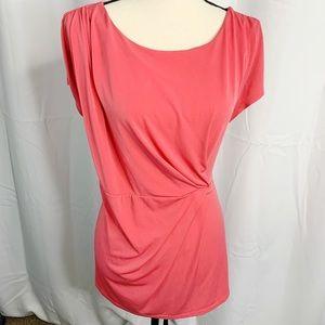 Lane Bryant melon pink twist front blouse 22 24